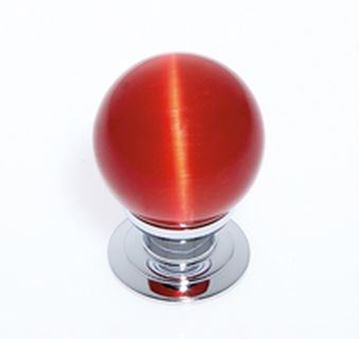"Picture of 1 1/5"" Cat's Eye Glass Red Smooth Round Knob"