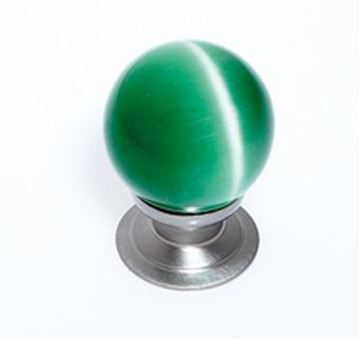 """Picture of 1 1/5"""" Cat's Eye Glass Green Smooth Round Knob"""