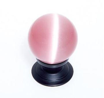"Picture of 1 1/5"" Cat's Eye Glass Pink Smooth Round Knob"